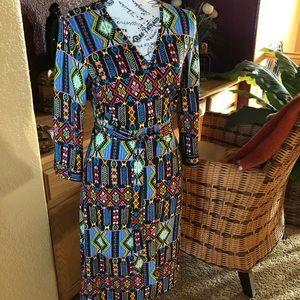 Beautiful Print JB Julie Brown Wrap Dress Sz Med